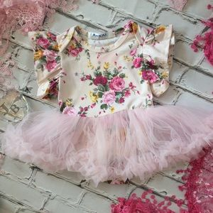 Other - Boutique Baby Girl Pink Floral Tutu Romper